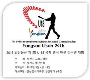 2016年 海外での軟式野球国際大会開催の実現|韓国・梁山市、蔚山市